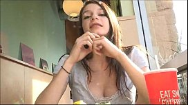 Pervert babe Anessa drops out her tits at fast food spot