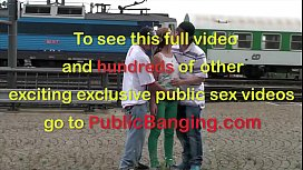 18 year old hot blond public sex threesome with 2 young guys at a train station