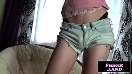 Smalltits femboy pleasures her...