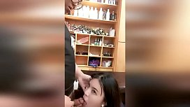 Chubby guy fucks his Asian girlfriend in barber shop (AMATEUR)