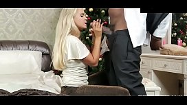 Blonde beauty gets a big black christmas cock