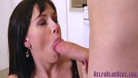 Kinky cougar sucking and stroking