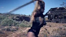 Busty sex witch dp banged outdoor in a desert