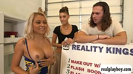 Curvy blonde woman pounded...