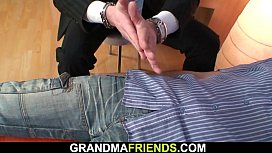 Big tits hairy granny in pantyhose swallows two cocks