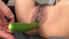Restrained Asian has her...
