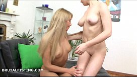 Blonde gets anally fisted...