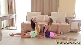 Flexi girlfriends stretching each...