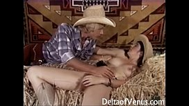 Retro &amp_ Hairy Teen Cowgirl Has Sex, 1970s