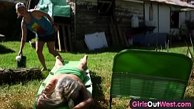 Girls Out West - Hairy amateur dykes lick pubes outdoors