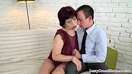 Cocksucking grandma pounded by younger lover