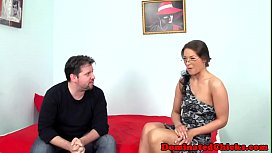 Deepthroating submissive riding cock in bdsm