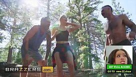 (Abella Danger) takes two big cocks in a hardcore three-way in the woods - Brazzers