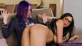 Sexy pornstar lesbians spanking and rough strapon action