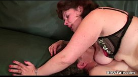 Mature big breasted slut being double