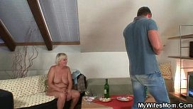 Horny granny seduces her...