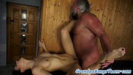 Pussyfucked euro beauty screwed by grandpa
