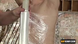 Shaved twink getting wrapped...