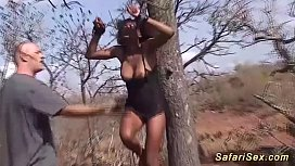 African babe gets hot...