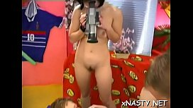 Slender brunette girl Heidi with massive natural tits '_s muff is nailed well