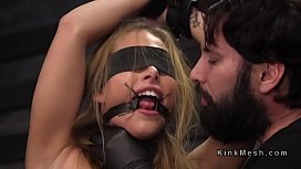 Blindfolded babe gets discipline...
