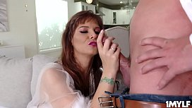 Sexy cougar Syren De Me mounts the stud and goes for a sizzling cock ride