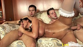 Busty milf Mandy Bright eats and rides two dicks