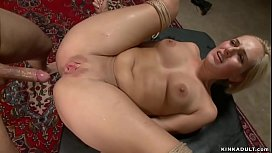 Bound and gagged blonde anal fucked