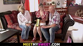 Old mother and dad seduce teen