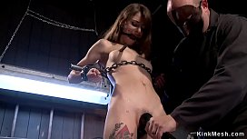 Slave gets whipped in device bondage