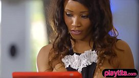 Busty ebony maid in her lingerie gets fucked hard