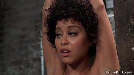 Two bound ebony slaves made to lick