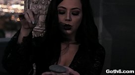 Witchy Goth babe Whitney Wright welcomes her new stepbrother by riding his huge cock on the top of her coffin bed.