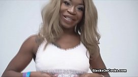 Ebony amateur blows a big white dick on audition