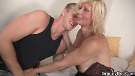 Blonde granny allows him drill her old cunt xxx image