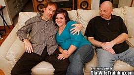 Chubby Wifey Pleases Two...