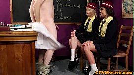 Cute cfnm schoolgirls satisfy...