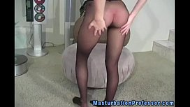 Stocking fetish babe shows...