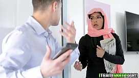 Sexy teen in hijab gets a deal with the nosy guy and makes him keep his mouth shut