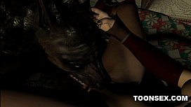 Sexy 3D Brunette Licked and Fucked by a Werewolf