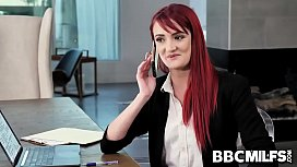 Redhead MILF realtor Andi Rye seduces her boss takes his huge black cock after closing a big deal.