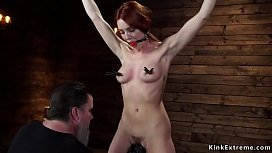 Hairy redhead sub is toyed in suspension