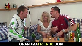Boozed blonde granny takes it from both sides