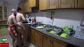 Cooking naked and eating...