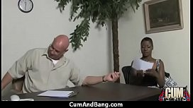 Ebony chick fucked hard in group sex action 17