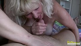 OldNannY Two Busty Ladies are Playig with One Cock
