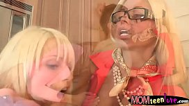Two massive boobs blonde women threesome
