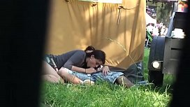 Outdoor festival amateur couple...