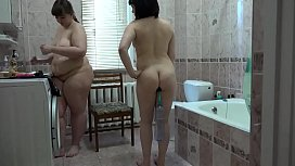 Lesbians with big ass check who has a stronger anal hole, unusual games of two girlfriends.