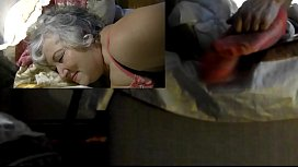 Mature Dana Tickled in Red Fully Fashioned RHT Stockings - view from 2 and 3 cameras .